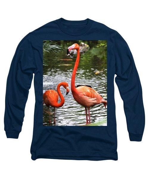 Two Pink Flamingo's Long Sleeve T-Shirt