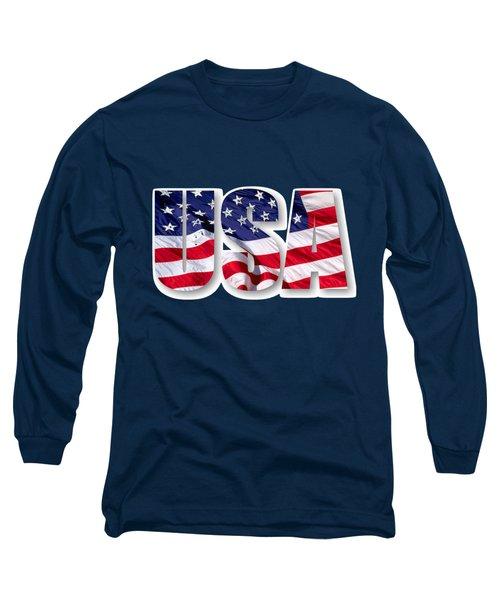 U. S. A. Red White Blue Design Long Sleeve T-Shirt