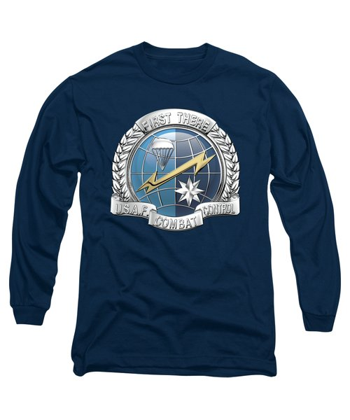 U. S.  Air Force Combat Control Teams - Combat Controller C C T Badge Over Blue Velvet Long Sleeve T-Shirt by Serge Averbukh