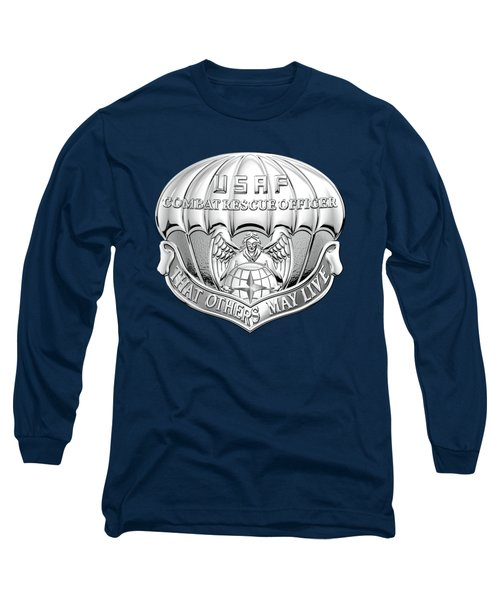 U. S.  Air Force Combat Rescue Officer - C R O Badge Over Blue Velvet Long Sleeve T-Shirt by Serge Averbukh