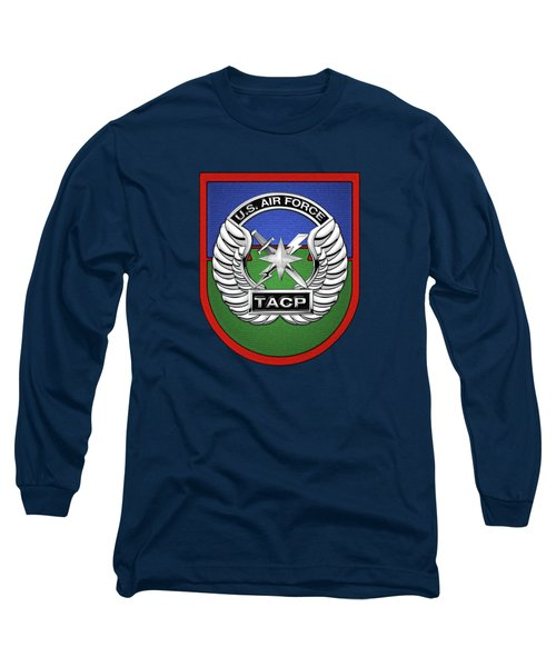 U. S.  Air Force Tactical Air Control Party -  T A C P  Beret Flash With Crest Over Blue Velvet Long Sleeve T-Shirt