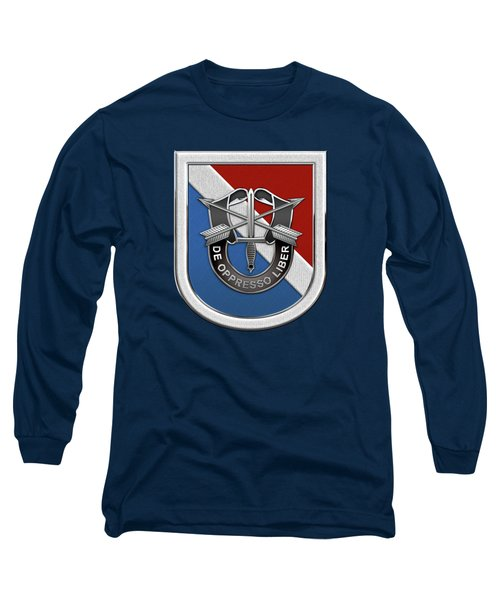 U. S.  Army 11th Special Forces Group - 11 S F G  Beret Flash Over Green Beret Felt Long Sleeve T-Shirt by Serge Averbukh
