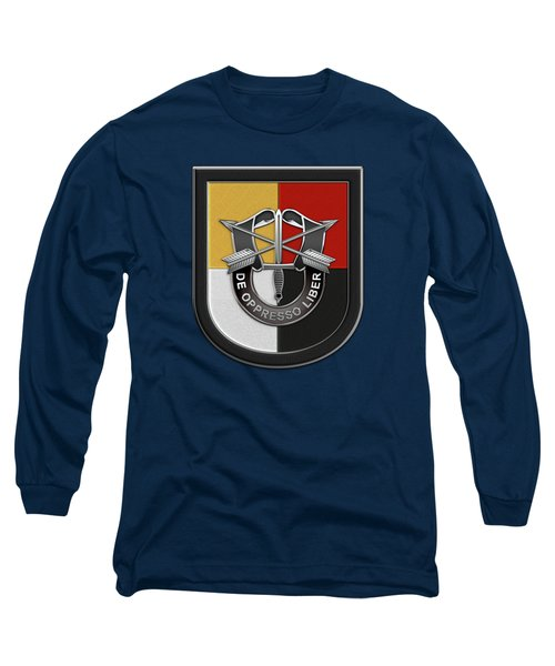 U. S.  Army 3rd Special Forces Group - 3  S F G  Beret Flash Over Green Beret Felt Long Sleeve T-Shirt
