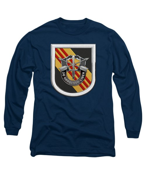 U. S.  Army 5th Special Forces Group Vietnam - 5 S F G  Beret Flash Over Green Beret Felt Long Sleeve T-Shirt