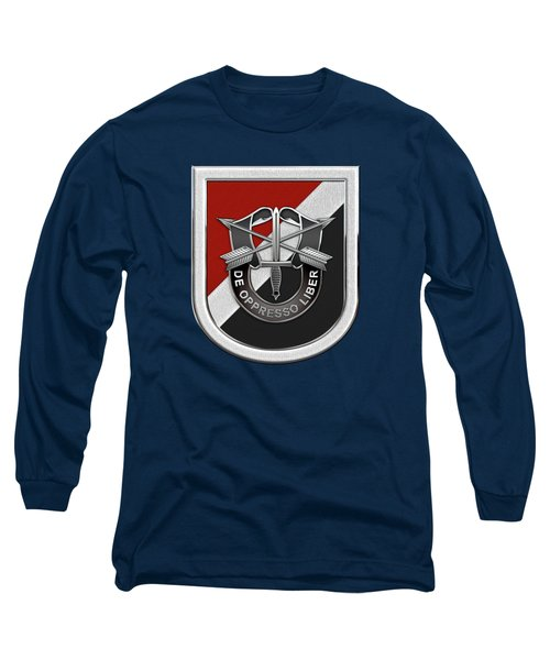 U. S.  Army 6th Special Forces Group - 6th S F G  Beret Flash Over Green Beret Felt Long Sleeve T-Shirt by Serge Averbukh