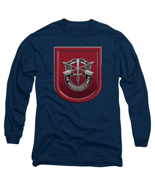 U. S.  Army 7th Special Forces Group - 7 S F G  Beret Flash Over Green Beret Felt Long Sleeve T-Shirt