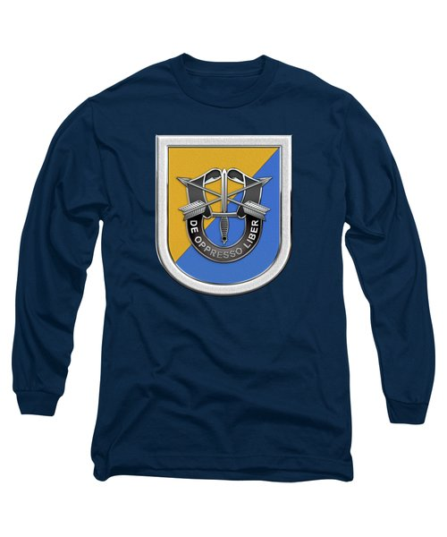 U. S.  Army 8th Special Forces Group - 8 S F G  Beret Flash Over Green Beret Felt Long Sleeve T-Shirt by Serge Averbukh