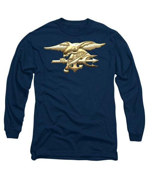 U. S. Navy S E A Ls Emblem On Blue Velvet Long Sleeve T-Shirt