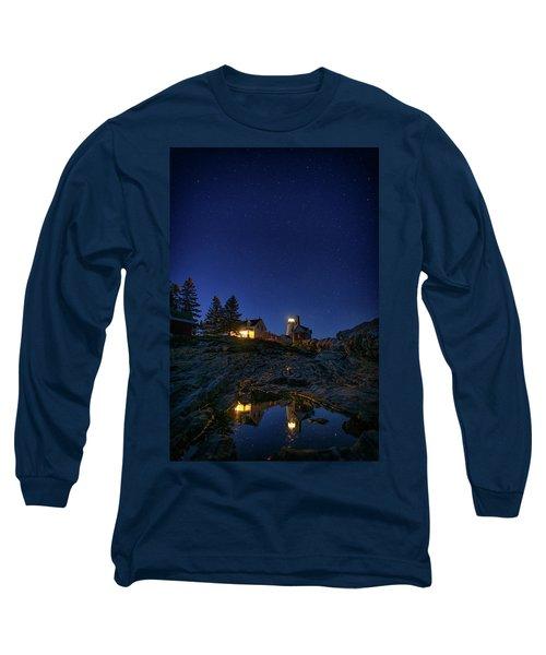 Under The Stars At Pemaquid Point Long Sleeve T-Shirt by Rick Berk