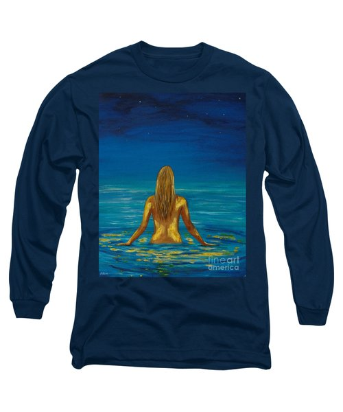 Long Sleeve T-Shirt featuring the painting Unmasking Series 1 by Leslie Allen