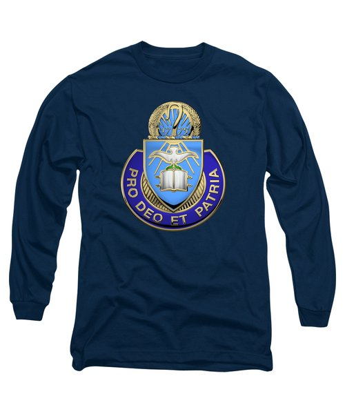 U. S. Army Chaplain Corps - Regimental Insignia Over Blue Velvet Long Sleeve T-Shirt
