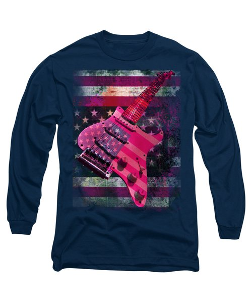 Usa Pink Strat Guitar Music Long Sleeve T-Shirt
