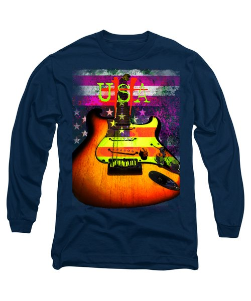 Long Sleeve T-Shirt featuring the photograph Usa Strat Guitar Music by Guitar Wacky