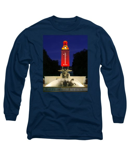 Ut Austin Tower Orange Long Sleeve T-Shirt by Lisa  Spencer