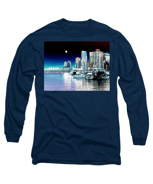 Vancouver Harbor Moonrise  Long Sleeve T-Shirt
