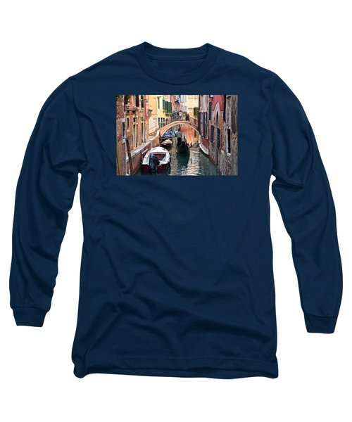 Venice Gondolier Long Sleeve T-Shirt by Frozen in Time Fine Art Photography