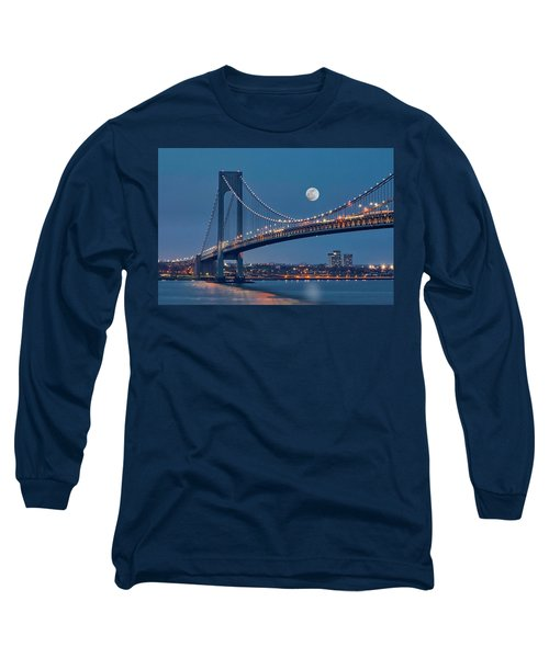 Long Sleeve T-Shirt featuring the photograph Verrazano Narrows Bridge Moon by Susan Candelario