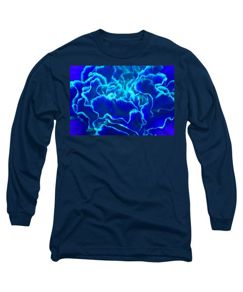 Long Sleeve T-Shirt featuring the photograph Vibrant Blue And Turquoise Carnation Flower by Shelley Neff