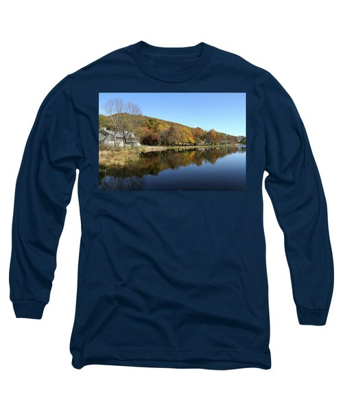 Long Sleeve T-Shirt featuring the photograph View Of Peaks Of Otter Lodge And Abbott Lake  In Autumn by Emanuel Tanjala