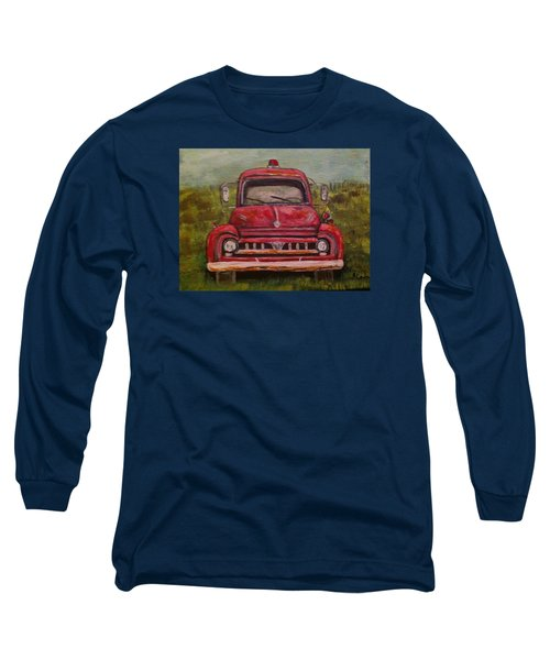 Vintage  Ford Fire Truck Long Sleeve T-Shirt by Belinda Lawson