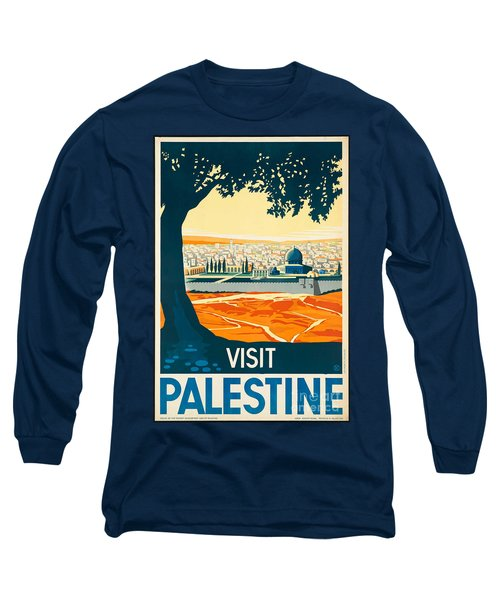 Vintage Palestine Travel Poster Long Sleeve T-Shirt by George Pedro