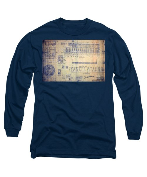 Vintage Yankee Stadium Blueprint Long Sleeve T-Shirt