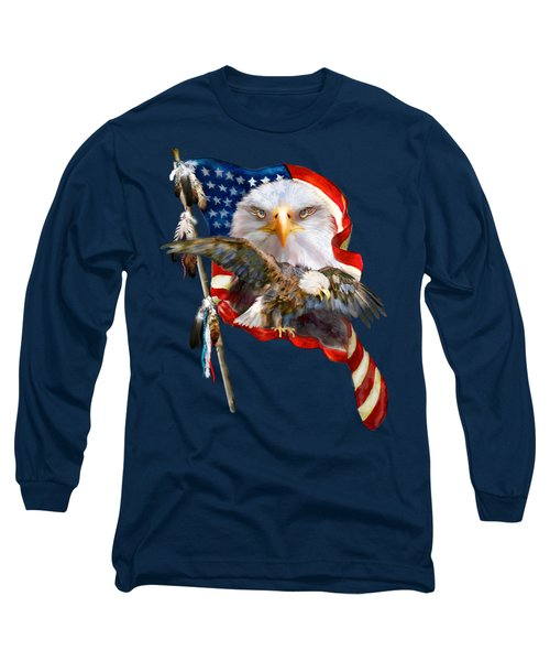 Vision Of Freedom Long Sleeve T-Shirt by Carol Cavalaris