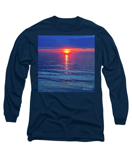 Long Sleeve T-Shirt featuring the photograph Vivid Sunset - Emerson Quote - Square Format by Ginny Gaura