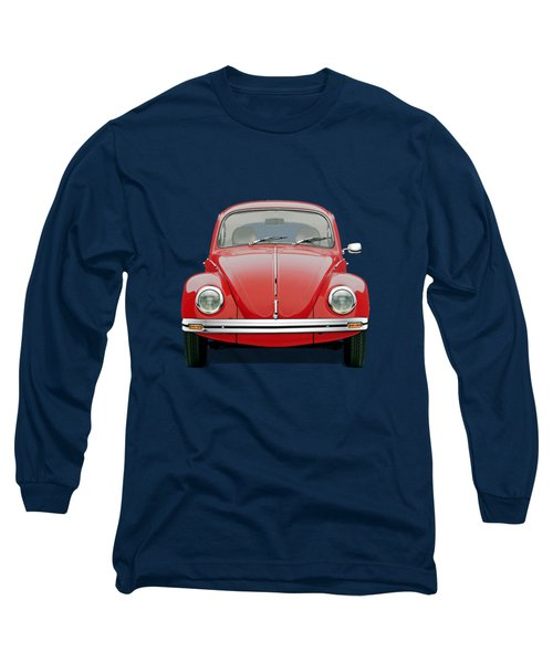 Long Sleeve T-Shirt featuring the digital art Volkswagen Type 1 - Red Volkswagen Beetle On Green Canvas by Serge Averbukh