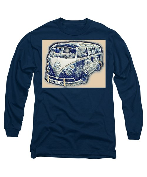 Vw Camper Van Waves Long Sleeve T-Shirt by John Colley