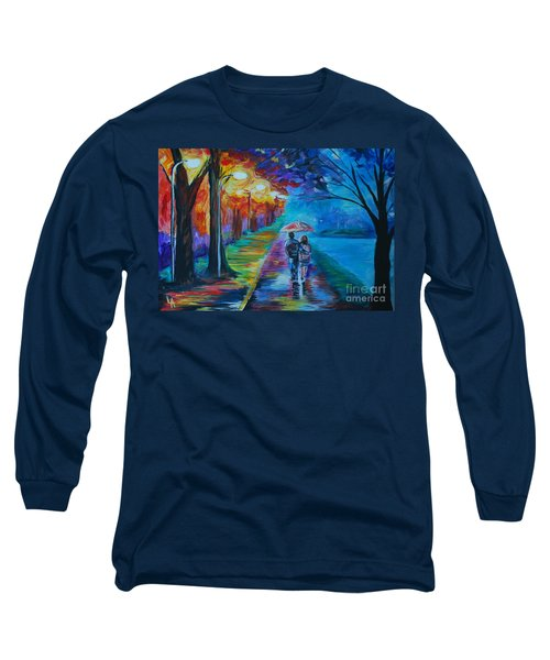 Long Sleeve T-Shirt featuring the painting Walk By The Lake  by Leslie Allen