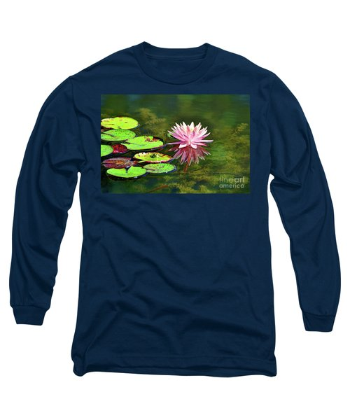 Water Lily And Frog Long Sleeve T-Shirt by Savannah Gibbs