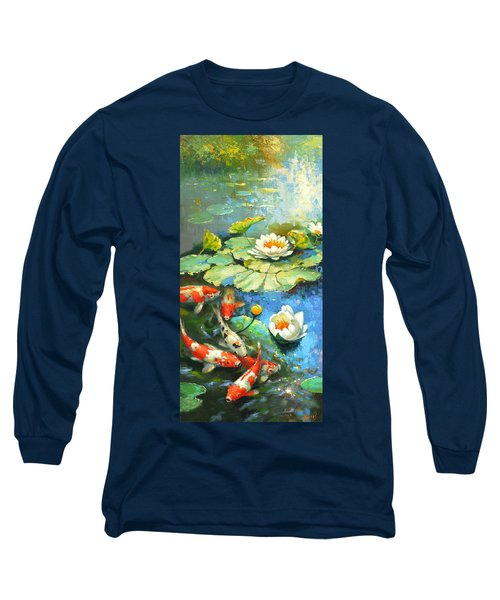 Water Lily Or Solar Pond      Long Sleeve T-Shirt by Dmitry Spiros