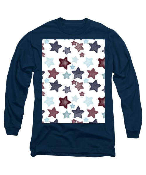 Watercolor Blue Red Stars Long Sleeve T-Shirt by P S