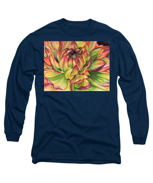 Long Sleeve T-Shirt featuring the painting Watercolor Dahlia by Angela Armano