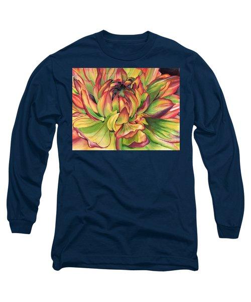 Watercolor Dahlia Long Sleeve T-Shirt