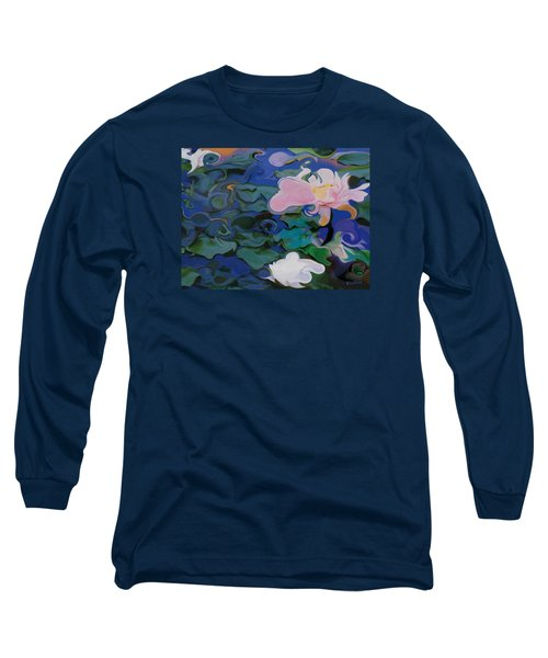 Long Sleeve T-Shirt featuring the painting Waterlilies Six by David Klaboe