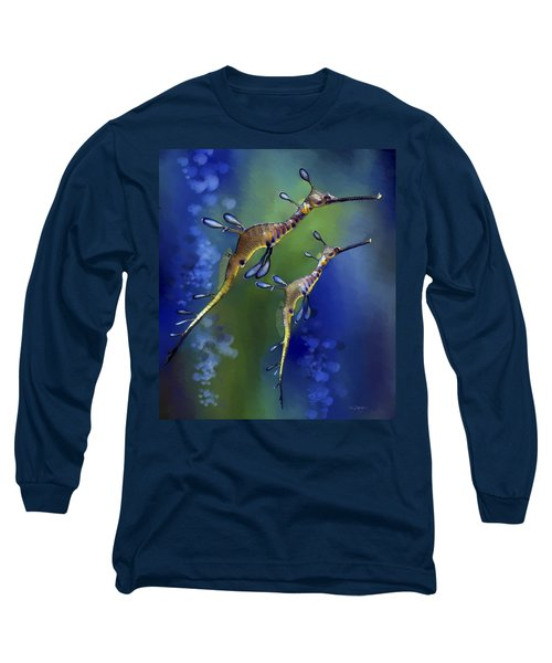 Long Sleeve T-Shirt featuring the digital art Weedy Sea Dragon by Thanh Thuy Nguyen