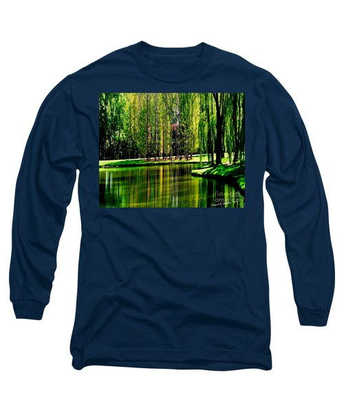 Weeping Willow Tree Reflective Moments Long Sleeve T-Shirt by Carol F Austin