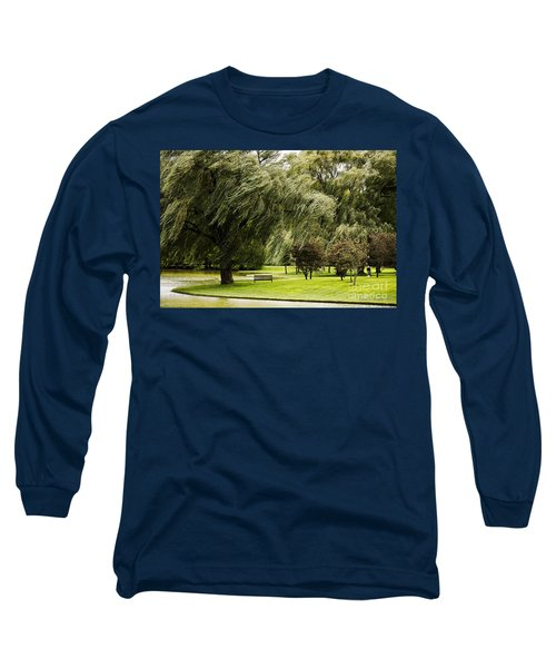 Weeping Willow Trees On Windy Day Long Sleeve T-Shirt