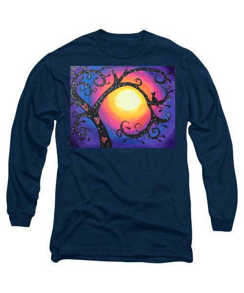 Whimsical Tree At Sunset Long Sleeve T-Shirt