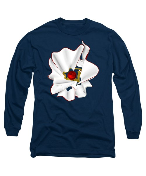 White Abstract Flower Long Sleeve T-Shirt