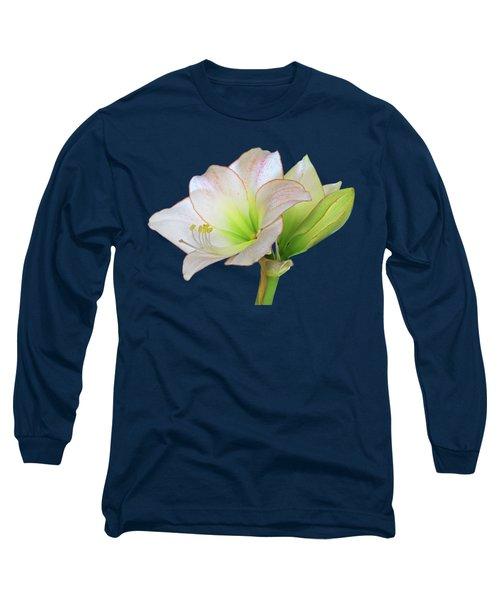 White Amaryllis On Black Long Sleeve T-Shirt