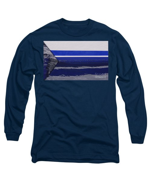 White And Blue Boat Symmetry Long Sleeve T-Shirt by Danuta Bennett