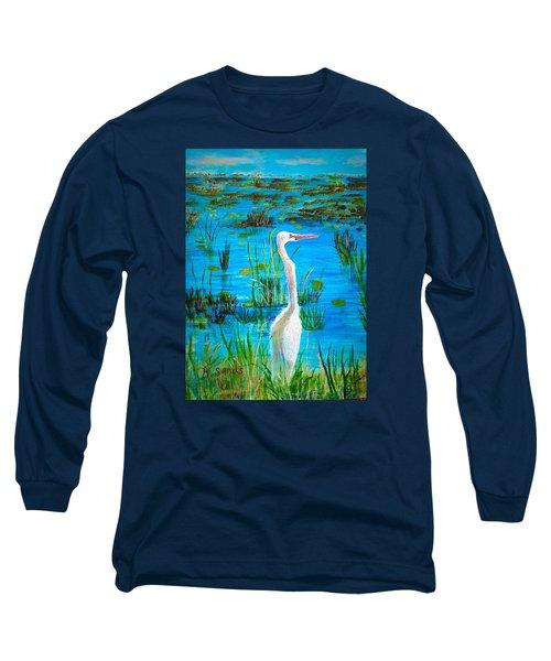 White Egret In Florida Long Sleeve T-Shirt