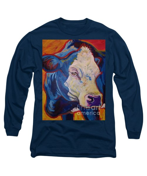 Long Sleeve T-Shirt featuring the painting White Face Cow by Jenn Cunningham