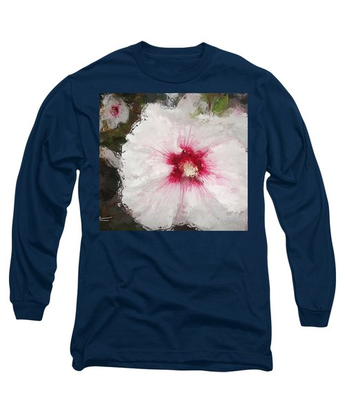 Long Sleeve T-Shirt featuring the painting White Flower by Joan Reese