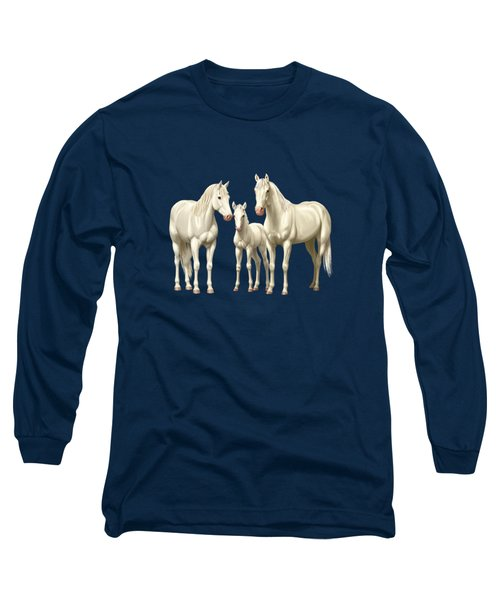 White Horses In Winter Pasture Long Sleeve T-Shirt