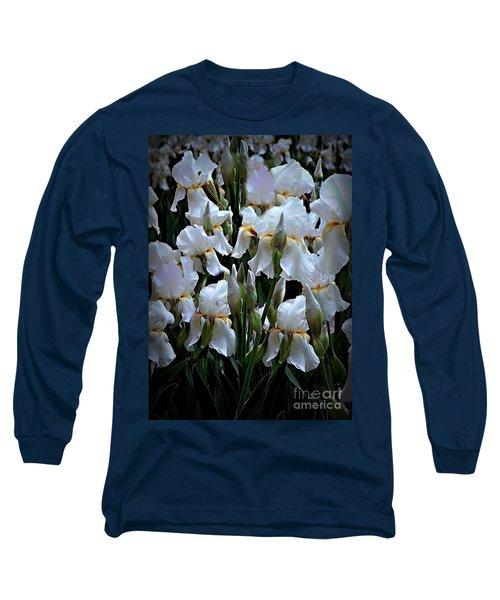White Iris Garden Long Sleeve T-Shirt by Sherry Hallemeier