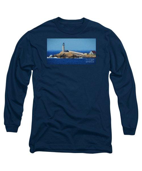 White Island Lighthouse Long Sleeve T-Shirt by Mim White